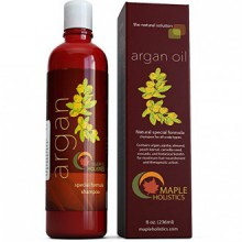 Argan Oil Shampoo, Sulfate Free, 8 oz. - With Argan, Jojoba, Avocado, Almond, Peach Kernel, Camellia Seed, and Keratin -