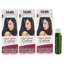 Cosamo -Love Your Color- Ammonia & Peroxide Free Hair Color 783 Black (Pack of 3) with One Jarosa Beauty Bee Organic