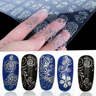 108Pcs 3D Silver Flower Nail Art Stickers Decals Stamping DIY Decoration Tools