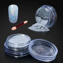 Elite99 Holographic Nail Chrome Powder,Shinning Mirror Effect Nail Polish Glitter Powder,1g Silver Chrome Powder+Sponge