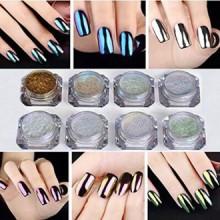 NICOLE DIARY 8 Pcs / set Shinning Mirror Nail Glitter Powder Nail Art Chrome Pigment magnifiques Glitters