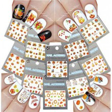 Nail Art Water Slide Stickers Tattoo ♥ Fall Into Fun Thanksgiving Theme - 10 Pack