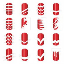 BTArtbox 12 Packs Plus de 36 conceptions différentes Guide Tip Nail vinyle auto-adhésif Nail Sticker Stencil Facile Nail Art Set