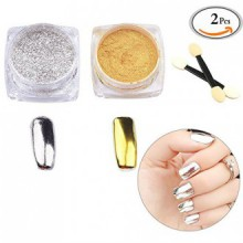 MLMSY 2 Box Mirror Poudre Or Argent Pigment Nail Glitter Nail Art Chrome avec Pinceaux assortis (Silver + Gold)