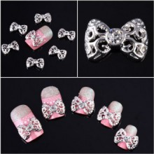350buy 10x 3D Silver Carve alliage strass Bow Tie Nail Art bricolage Décorations