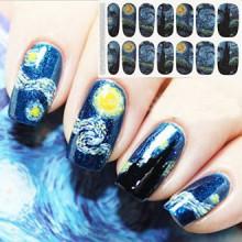 Bluezoo nuit étoilée Fullnail Autocollants, 14 Autocollants / feuille de Nail Art Sticker complet Van Gogh (Pack de 2 feuilles)
