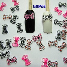 TOOGOO(R) Nail Art 3d 50 Mix PRINT BOW /RHINESTONE for Nails, Cellphones
