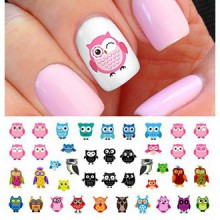 Owl Assortiment Nail Stickers Art Toboggan Nombre Set 1 - Salon Qualité!