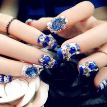 Spritech(TM) 22 Pre Bling Blue Diamond Design Fake Nail Piece with A Free Nail Glue