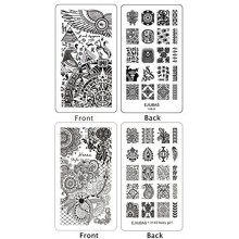 Ejiubas 2 Pcs Double-sided Henna Floral Egypt Nail Stamping Plates Nail Art Designs Manicure Set
