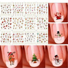 Bhbuy Christmas Halloween 3D Nail Art Stickers Snowflakes Cute Snowmen Nail Decals