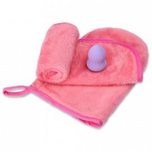 Makeup Remover(2 Pack Pink,including A Glove and A Soft Cloth)with A Gourd Flawless Smooth Cosmetic Powder Makeup Sponge