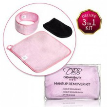 BEST MAKEUP REMOVER 3-in-1 Kit for Clean & Healthy Skin, Includes Spa Headband, Facial & Eye Cleansing Cloth Towels, &