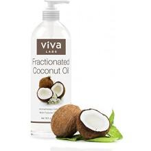 Viva Labs huile de coco fractionnée 16 oz - Hydratant Massage & Aromathérapie Must-Have, Hexane-Free Ultra