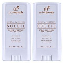 Art Naturals SPF 50 Sunscreen bâton 0,7 onces - Paquet de 2 - Résistant à l'eau 80 Minutes - Avec le meilleur Natural & Orga