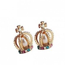 DaySeventh 1 Pair Crown Pearl Rhinestone Cross Lovely Retro Stud Earrings