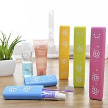 4pcs smile travel toothbrush toothpaste portable storage box Breathable Toothbrush toothpaste containing cylinder candy