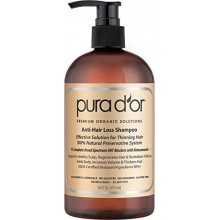 Pérdida PURA D'OR Anti-Hair premio orgánico aceite de argán Champú (Gold Label), 16 onza líquida