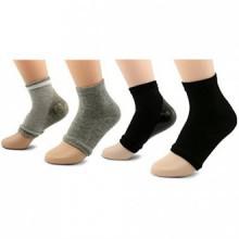 Peau AYAOQIANG Hydratant Gel ouvert Toe Heel Socks, Spa Socks pour Hard Dry Cracked -2 Paire (noir et gris)