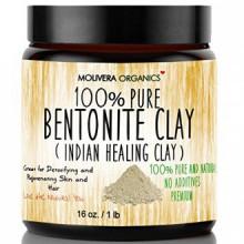 Molivera Organics Bentonite Clay for Detoxifying and Rejuvenating Skin and Hair, 16 oz.