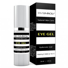 Liv Luminous Eye Gel Infused with Matrixyl 3000 & Plant Stem Cells for Dark Circles, Fine Lines, Wrinkles & Eye Puffiness -
