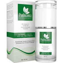PurOrganica EYE CREAM for Dark Circles, Eye Bags, Puffiness, Wrinkles and Crow's Feet - DOUBLE SIZED 1 OZ - Organic Anti